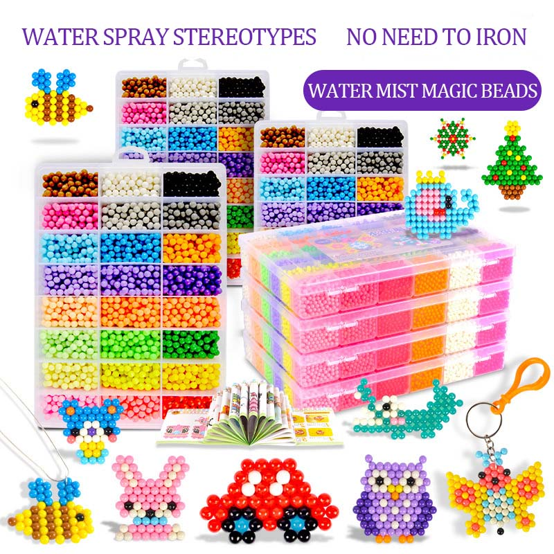 NEW 24 Colors DIY Water Spray Magic Beads Hand Making Beads 3D Puzzle Educational Toys For Children Kit Ball Game