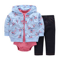 2019 Limited Top Active Full Suit Jacket 0-3 Years Old Boy Girl Jumpsuit Baby Tights Jeans Clothing Cartoon Stamp Set Of Three