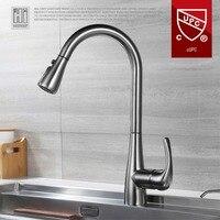 HIDEEP Кухня кран Pull Down водопроводный кран Кухня горячей холодной водой 304 Нержавеющаясталь 360 Поворотный кран может вытащить
