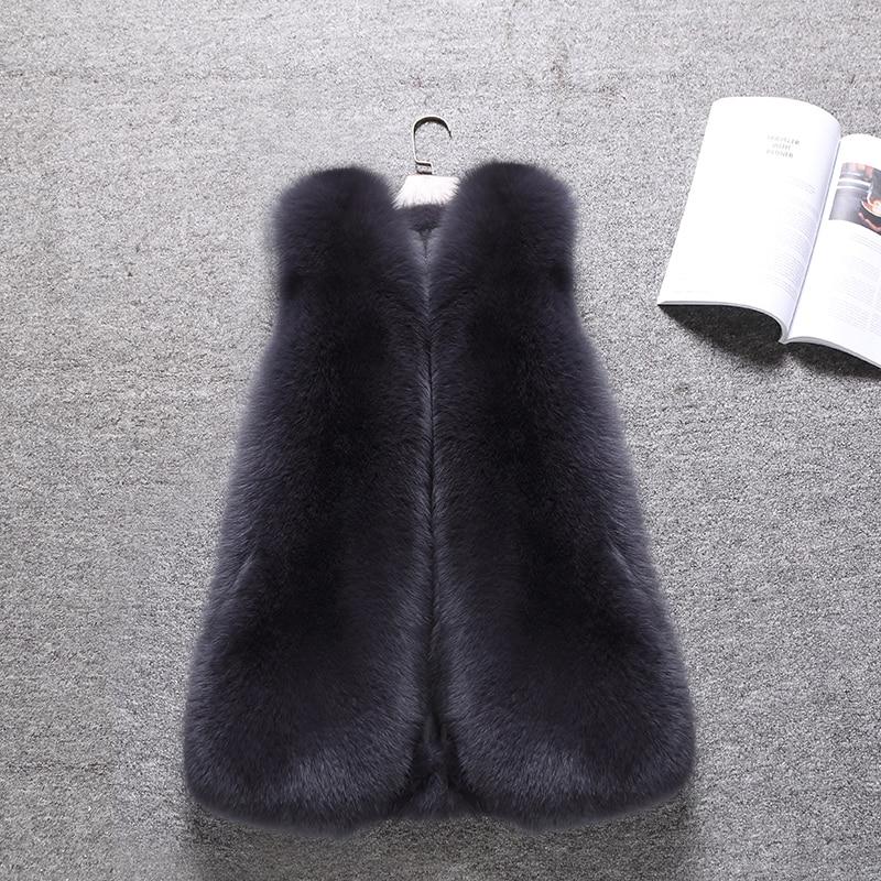 Manteau Vintage Manteaux De Para Réel Zl516 Femmes Hiver Mujer 2018 Dark Coréen Chaud Gilets Fourrure Automne Renard Élégant Vêtements black Gray Gilet Chalecos 0q0pOwZ4