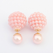 5 Colors Brand Double Side Imitation pearl fashion font b earring b font Trendy Cute Charm