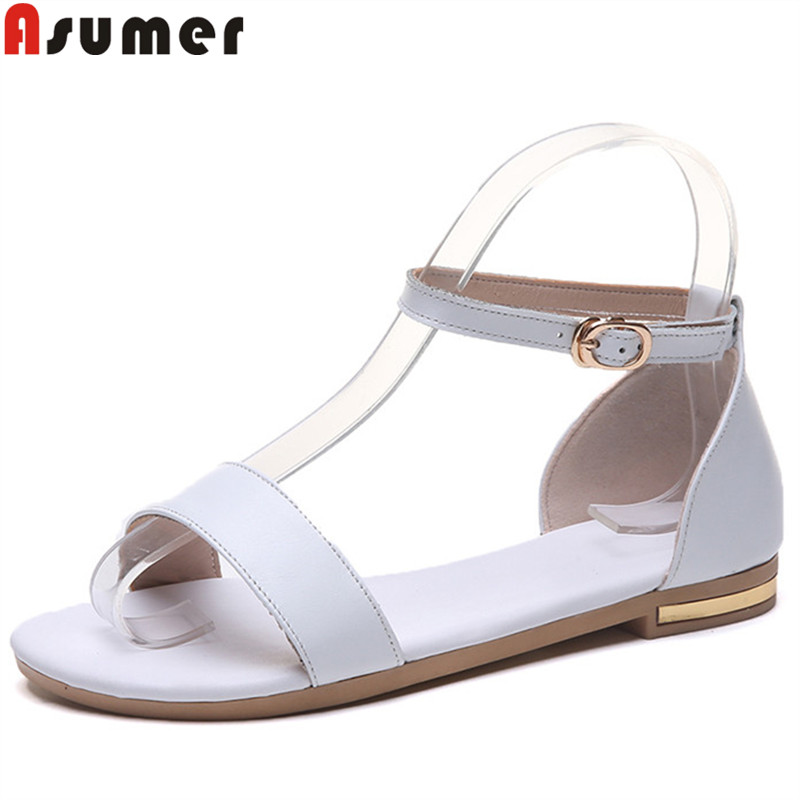 Asumer 2019 new genuine leather shoes women summer sandals buckle ladies shoes flat with comfortable women sandals big sizeAsumer 2019 new genuine leather shoes women summer sandals buckle ladies shoes flat with comfortable women sandals big size