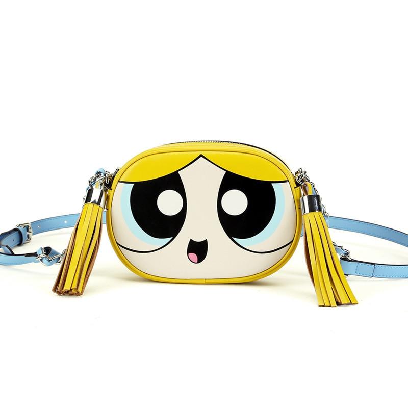 Cute fashion design and good quality chain shoulder bag powerpuff girls flap bag ladies handbag clutch purse 3 colors