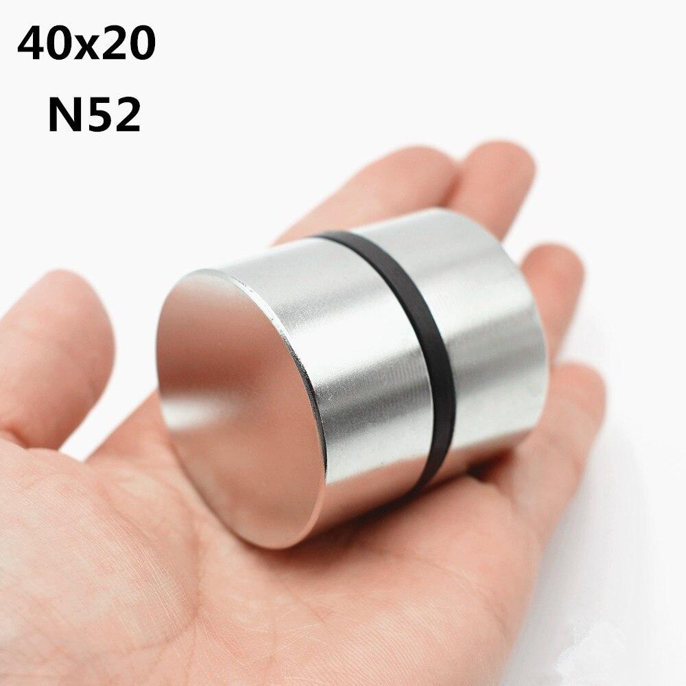 2 unids imán de neodimio de N52 40x20mm Super fuerte ronda de la tierra rara poderoso NdFeB galio metal altavoz magnético N35 40*20 disco