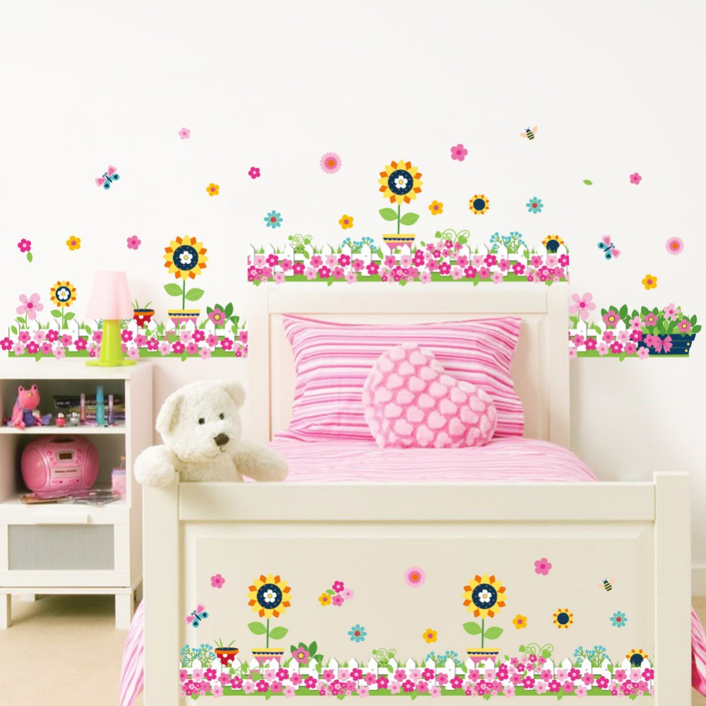 Pink Flowers Butterfly Wall Stickers Baseboard Kids Room Living Room Home  Decor Vinyl 3D Skirting
