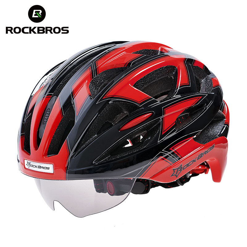 ROCKBROS New Bike Cycling Goggles Helmet With 3 Lenses EPS & PC Material Mountain Bicycle Helmet with Sun Glasses rockbros photochromic cycling glasses sunglasses men women uv400 outdoor sport bicycle bike glasses cycling eyewear goggles 2017