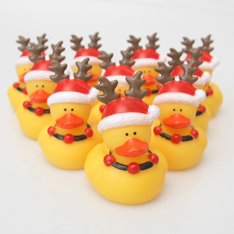 10PCS Classic Rubber Bathing Christmas Antlers Small Yellow Duck Baby Bath Bathroom Swimming Pool Floating Duck Children's Gift