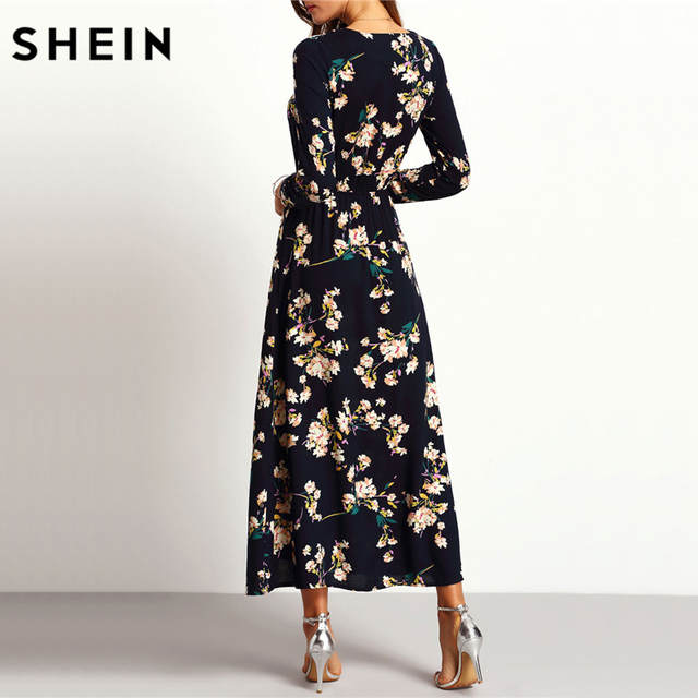 b4f67285be Online Shop SHEIN New Arrival Boho Women Maxi Dresses Navy V Neck Long  Sleeve Womens Elegant With Button Floral Long Party Dress | Aliexpress  Mobile
