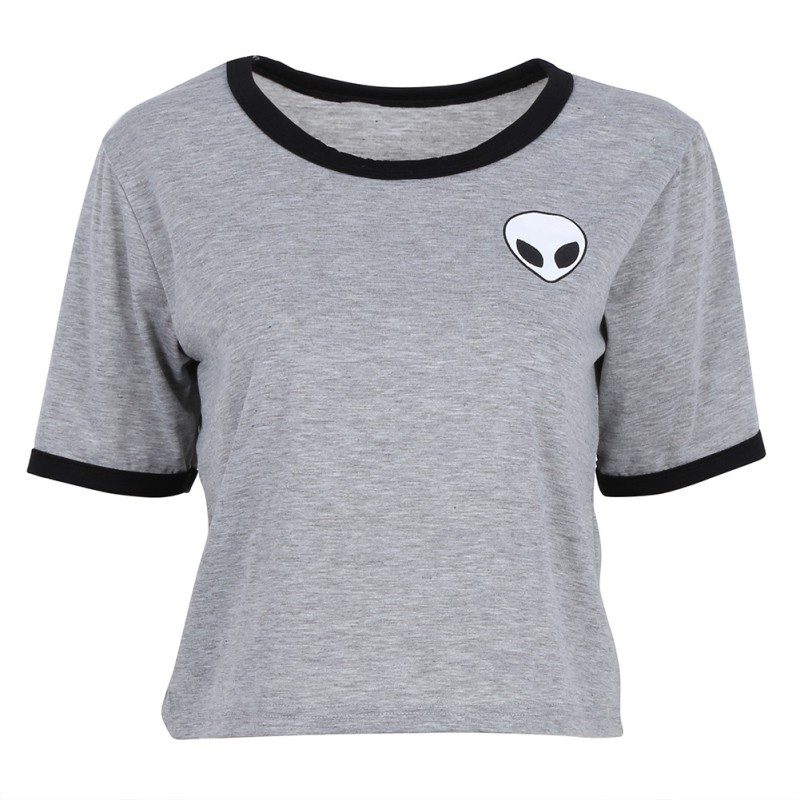 HTB15OaJNFXXXXaGXXXXq6xXFXXXU - Cute Stripe Short Sleeve Cotton Top Tee Alien Embroidery Tshirts
