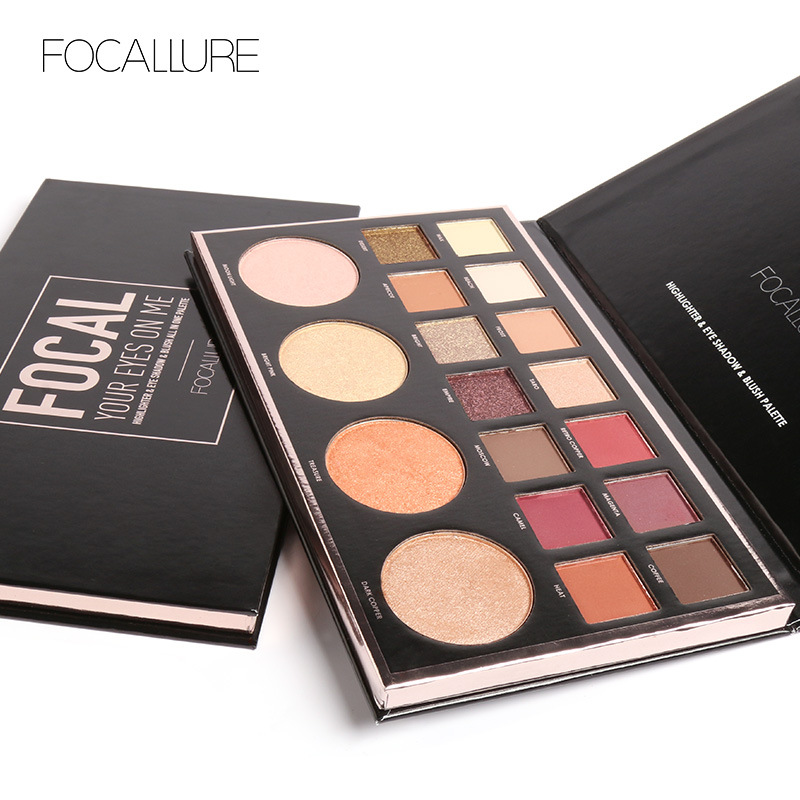 Beauty Essentials Focallure New Highly Pigmented Glitter Eye Shadow Flash Shimmer With Bush Highlighter Palette Face Makeup Tools