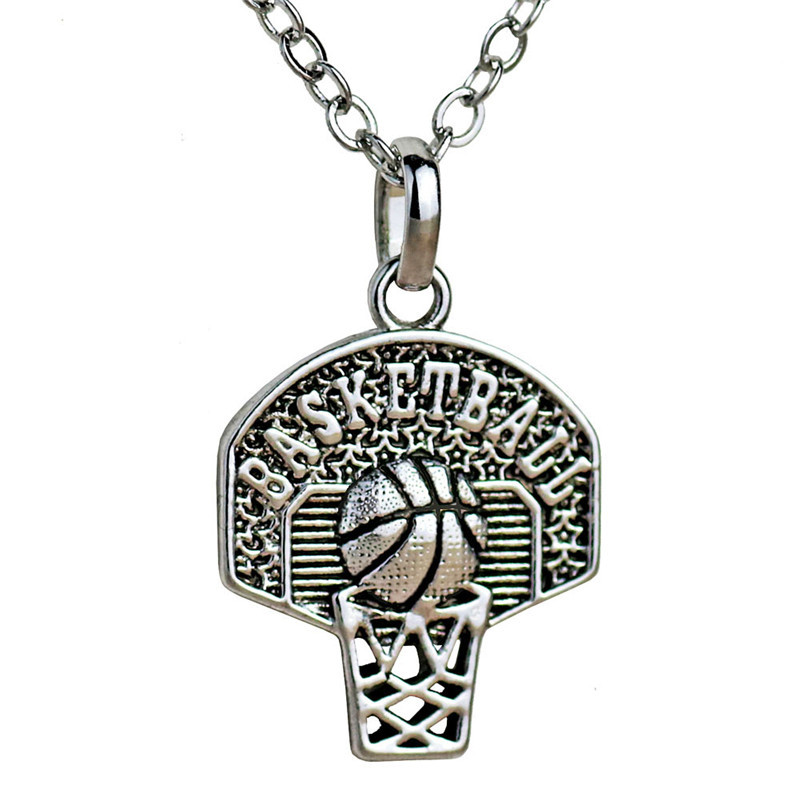 Basketball Hoop Pendant Necklaces Sports Tiny for Women Fashion Jewelry Vintage Basketball Box Necklace Hip Hop Femme Mujer 2018