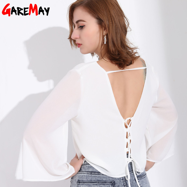 3b14e66c653c9 Deep V Neck Womens Blouses And Tops Sexy Chiffon Blouse With Open Back  White Woman Tops Summer Female Blusas Camisa Feminina