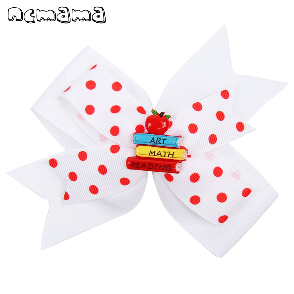 Fashion 4.5 Inch Colorful Hair Bows For Girls Back To School Hair Clips Cartoon Hairgrips For Students Kids Hair Accessories