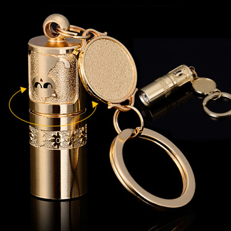 Golden Mini Portable Light Glow Camping Keychain Party Supplies LED Flashlight Torch Lamp Handheld