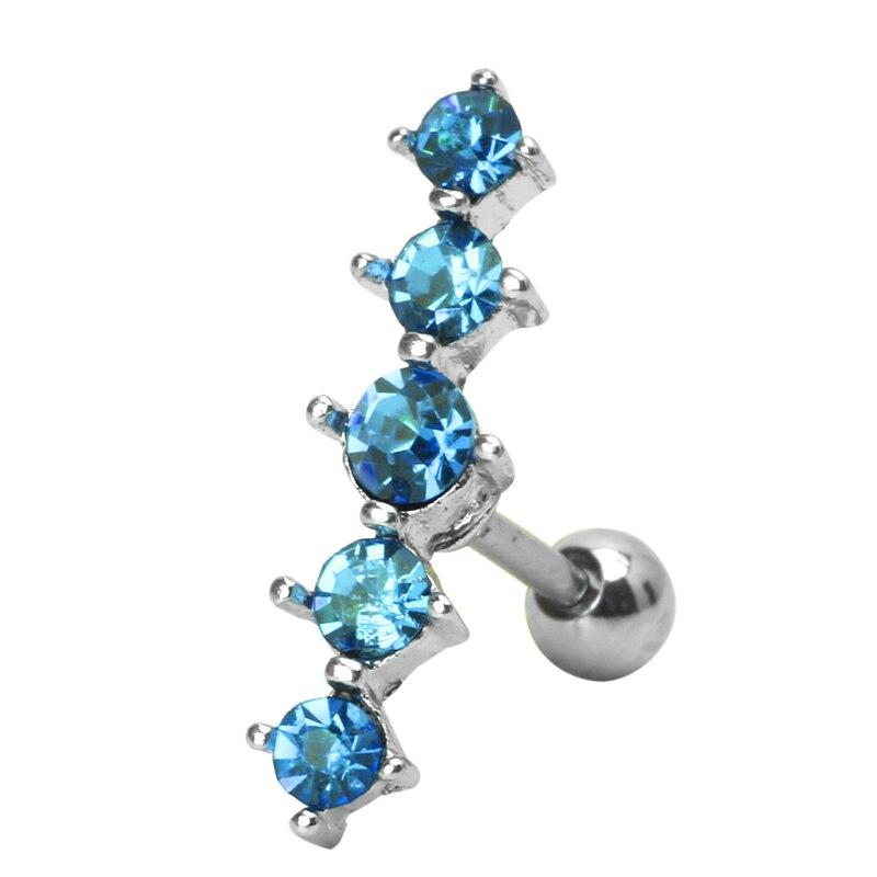 New Design Crystal Women Cartilage Tragus Barbell Ear Ring Piercing Stud Body Rhinestone Earrings Jewelry for Women Boucle