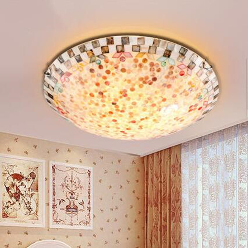 Modern Ceiling Lights ASCELINA Mediterranean Style Creative led Ceiling Lamp home lighting lamps for living room bedroom balcony 12inch tiffany mediterranean style natural shell ceiling lights lustres night light led lamp floor bar home lighting