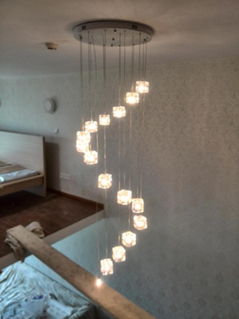unids escalera art deco llev luces colgantes de cristal cbicos para restaurante tico