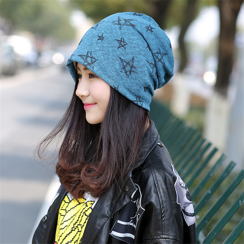 New fashion star printed winter hats for women high quality warm turban hat casual beanie bonnet femme skullies gift for girl fashion printed skullies high quality autumn and winter printed beanie hats for men brand designer hats