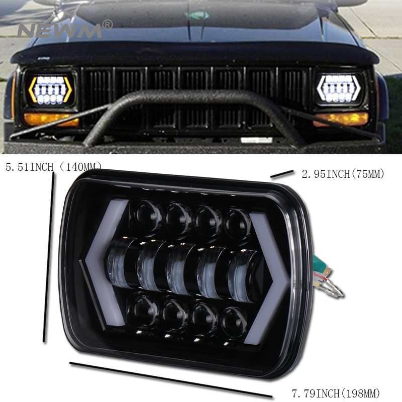 1 Piece 7x6 5D LED Headlight Halo DRL 86-95 For Jeep Wrangler YJ 84-01 Cherokee XJ Angel Eyes H4 Square Headlights