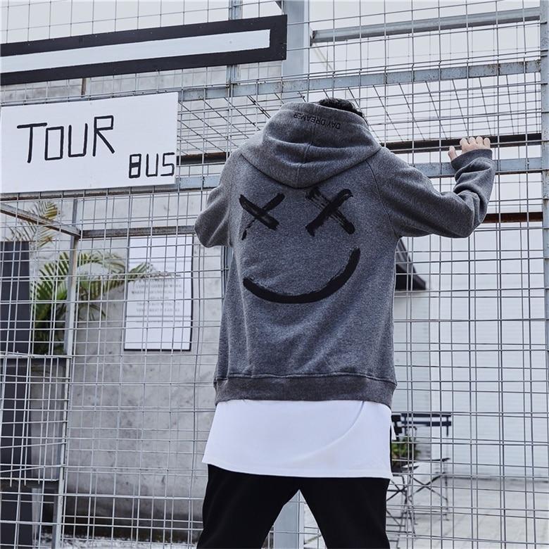 MarKyi 2019 fashion smile print men hoodies sweatshirts long sleeve streetwear hoodies luxury men in Hoodies amp Sweatshirts from Men 39 s Clothing