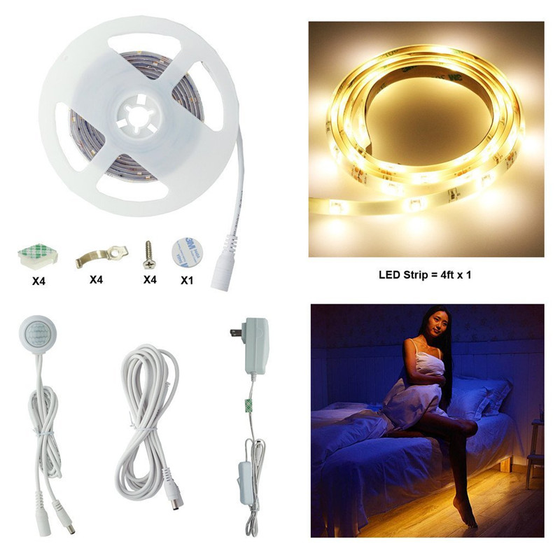 Motion Activated LED Strip Sensor Night Light Illumination with Automatic Adjustable Shut Off Timer, Closet, Staircase Lighting for dual motion activated bed light flexible led strip sensor night with automatic shut off timer promotion