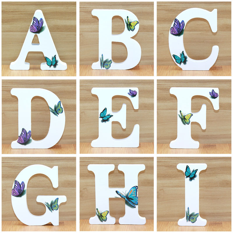 1pc 10cm 3D Butterfly Wooden Letters Decorative Alphabet Word Letter Name Design Art Crafts Hand Made Standing Shape Wedding DIY