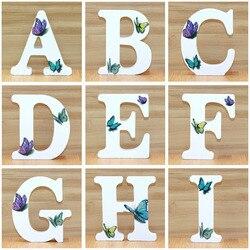 1pc 10cm 3D Butterfly drewniane litery dekoracyjne alfabet słowo list nazwa projekt rzemiosło artystyczne ręcznie wykonane stały kształt ślub DIY