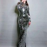 Новый Дизайн Bling Полный зеркала со стразами длинное платье Для женщин вечерние день рождения Пром праздновать вечерние хвост платье черный