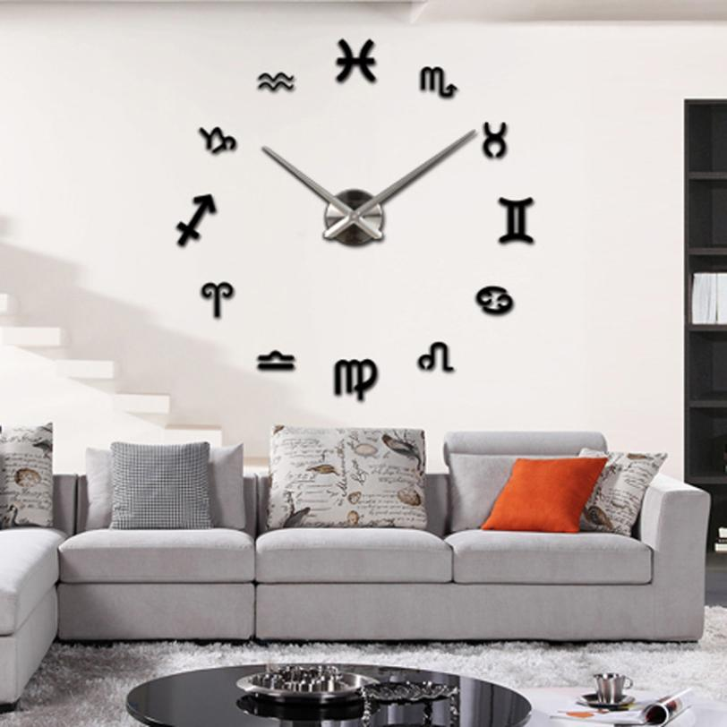 New Qualified Large 3D Modern Mirror Silver Wall Clock Home Living Room Decor DIY Dec25 In Stickers From Garden On Aliexpress