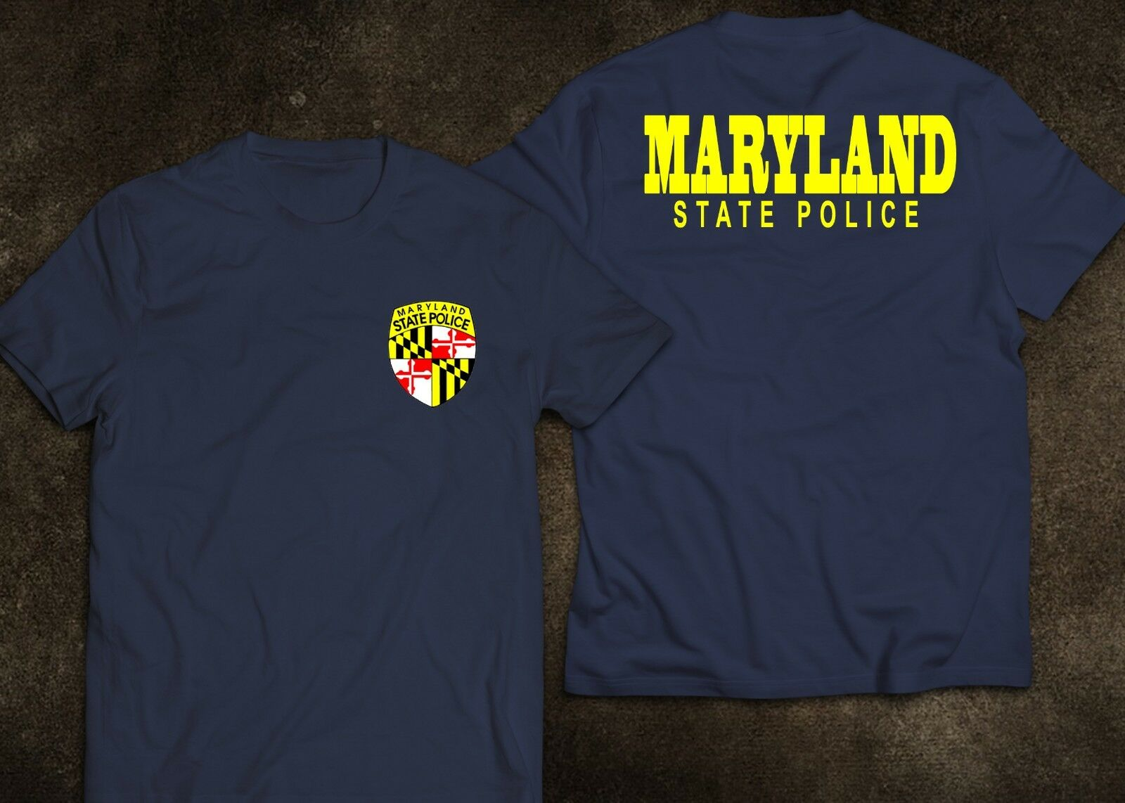 2019 Funny New Maryland State Police United States Department Navy Black White T Shirt Double Side Unisex Tee in T Shirts from Men 39 s Clothing