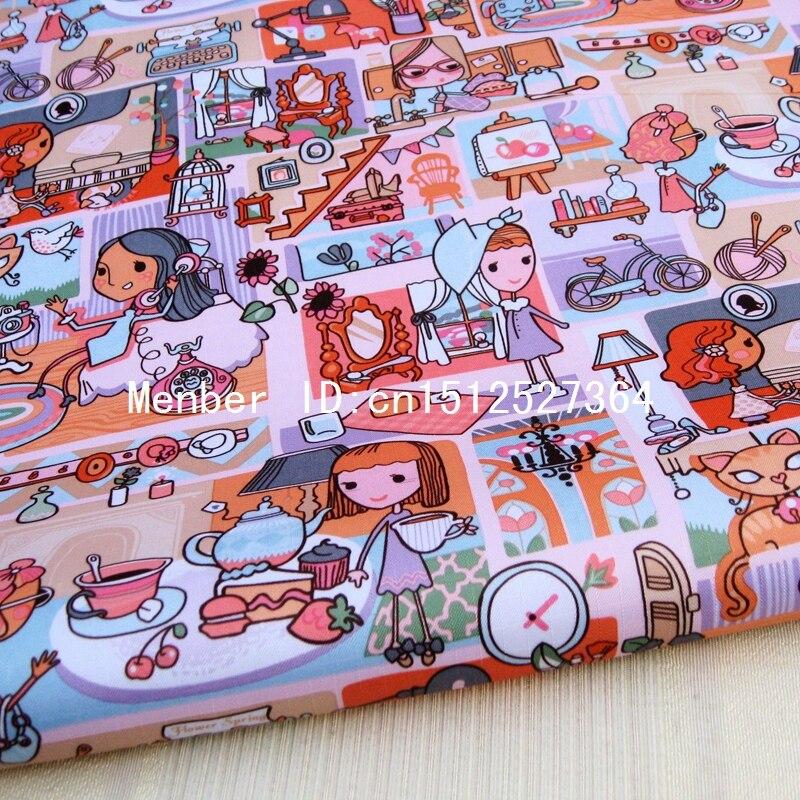 WF272 - PVC coated waterproof fabric - Cartoon - lovely girls (yellow)
