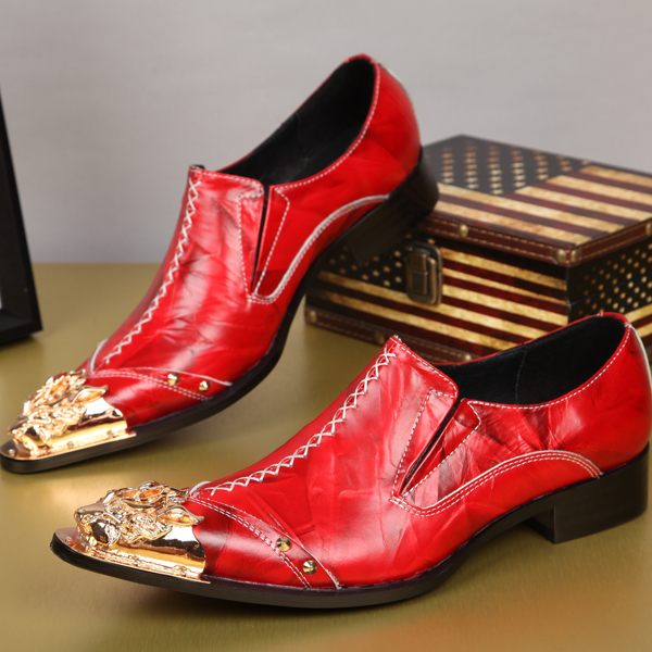 Plus Size 38 46 Red Wedding Shoes For Men Fashion Gold Dragon Embroidery Genuine Leather Dress Carving Bullock In Oxfords From On