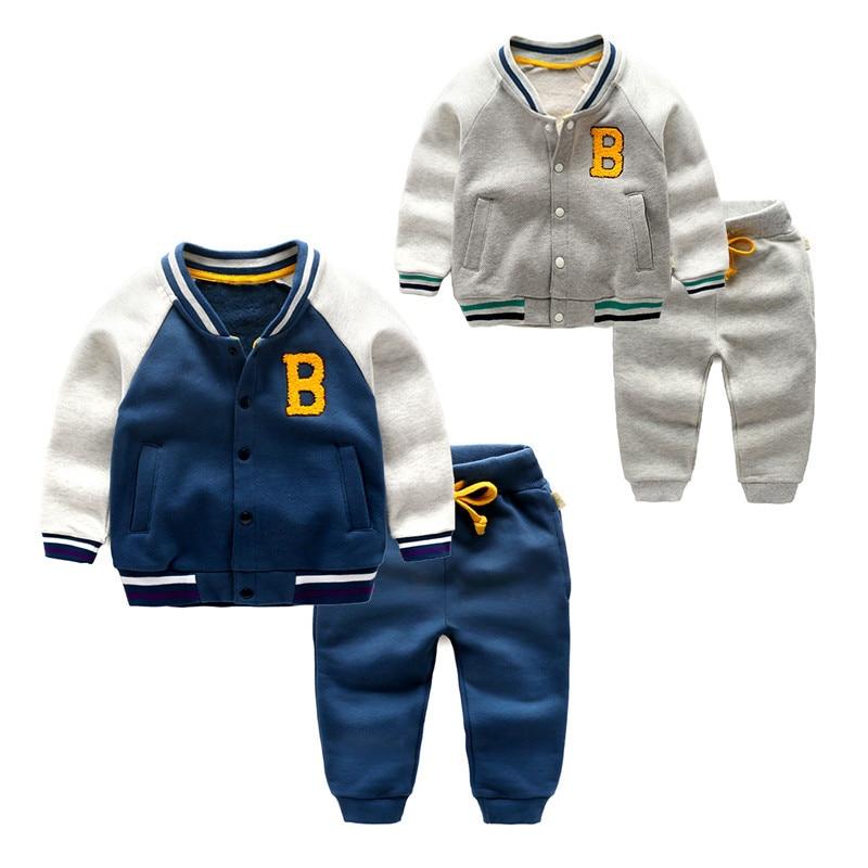 New 2017 Autumn Boys Fashion Children Clothing Sports Suit For Boy Jacket Sweater Coat & Pants Thicken Kids Clothes Sets 2015 new arrive super league christmas outfit pajamas for boys kids children suit st 004