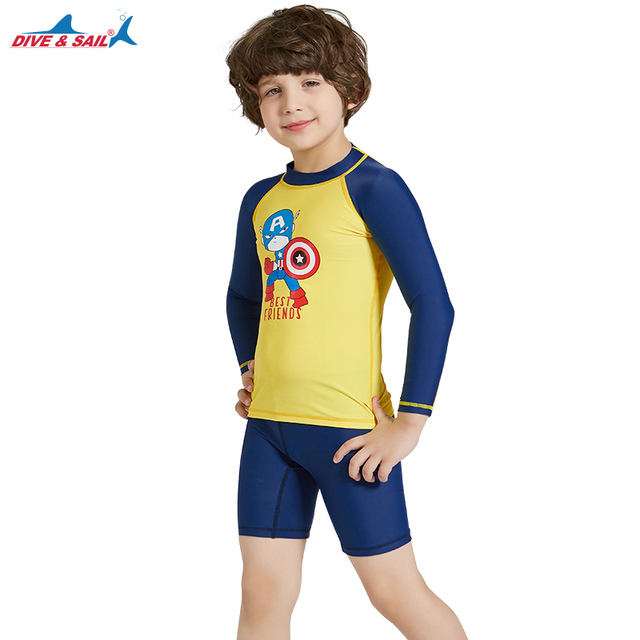 ed9a123307 Boys Kids Swimsuits 2 piece Set Long Sleeve Body Swimsuit Yellow/Navy  Printed UPF 50