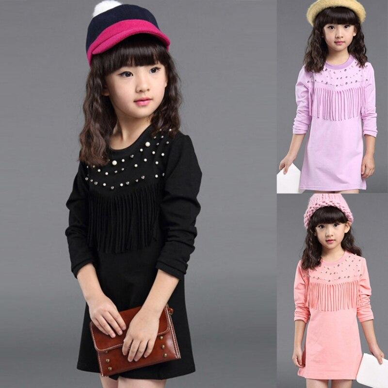 Spring Autumn Baby Girl Kids Dress Long Sleeve Tassel Cotton Straight Dresses 2-7Y