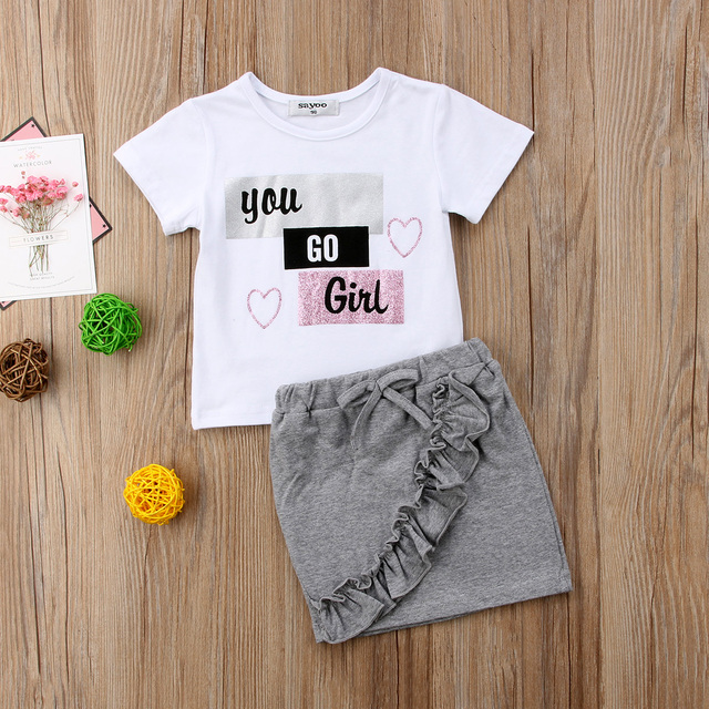 556132808e8a6 US $5.18 48% OFF|2018 new Newborn Kid Baby Girls Tops T shirt Denim Skirts  Dress Outfits Clothes Set fashion and wild simple summer CH -in Clothing ...