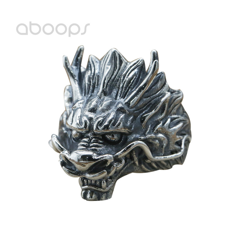 Vintage 925 Sterling Silver Chinese Dragon Head Ring for Men Boys Adjustable Free Shipping цена