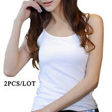 2 PCS/Lot Camis Vest Women Sexy Soft Tank Tops Solid Sleeveless Hot Camisole Slim Top Cropped For Ladies 3 Colors