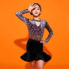 Новое поступление латинские танцевальные костюмы для девушек леопардовый купальник тонкий Танго ча-ча Самба Практика носить черный Танцы юбка DC1444
