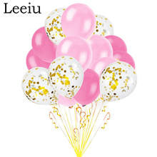 Leeiu 15 Pcs Pink Latex Balloons Gold Confetti Ballon Happy Birthday Balloon Wedding Baby Shower Decoration