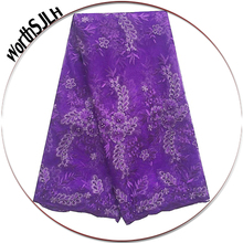 Purple Heavy Beaded Lace fabric Stones Nigerian Cord Swiss Fabric White Africa High Quality For Wedding Dress