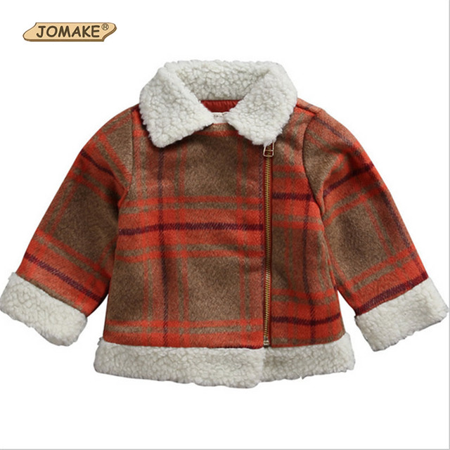 2017 Winter New Fashion Girls Clothes Lambs Wool Jacket Zipper Turn-Down Collar Plaid Baby Girl Woolen Coat Casual Clothing