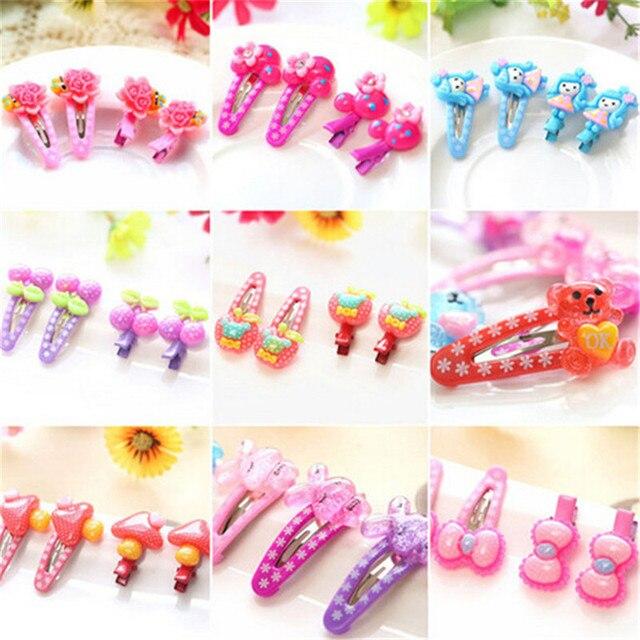 866ca4521e990 Cute Cartoon Kids Hair Clip Children Flower Bow Hair Accessories Resin  Hairpin Cherry Apple Barrettes Set