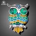 AZORA Platinum Plated Stellux Blue Austrian Crystal  The Owl Pin Brooch TP0004