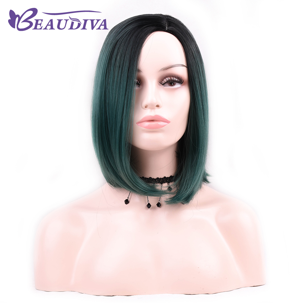 Beaudiva Wigs Black Green Short Straight Bob Synthetic Hair Cosplay Wig For Women Heat Resistant Fiber Daily Full Hair
