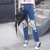 High Waist Jeans Woman 2018fashion Cotton Originality Hole Flash Cat Rivet Metal Ring Women Jeans For