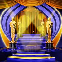 oscars Hollywood Stage curtains staircase light bokeh backdrops High quality Computer print party background