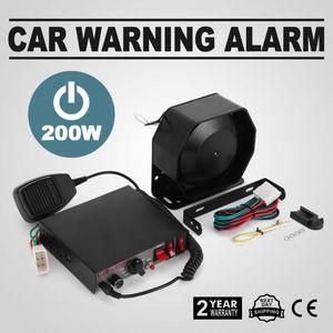 Alarma de alarma de sonido de fuego de 200W, bocina de policía PA 8, micrófono, altavoz fuerte, sistema de sirena para automóvil con caja de sirena