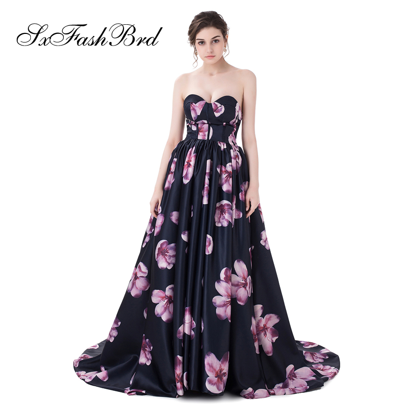 Robe De Festa chérie une ligne imprimé Satin Robe élégante Longue formelle femmes robes De soirée Robe Longue De bal