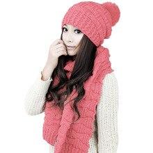 Открытый Зимний 5 Цветов Вязать вязаный Шарф + Вязаная шапка Набор Для Женщин и Девочек